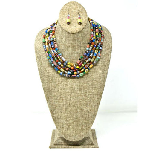 Trade Beads Necklace Five Strand Set