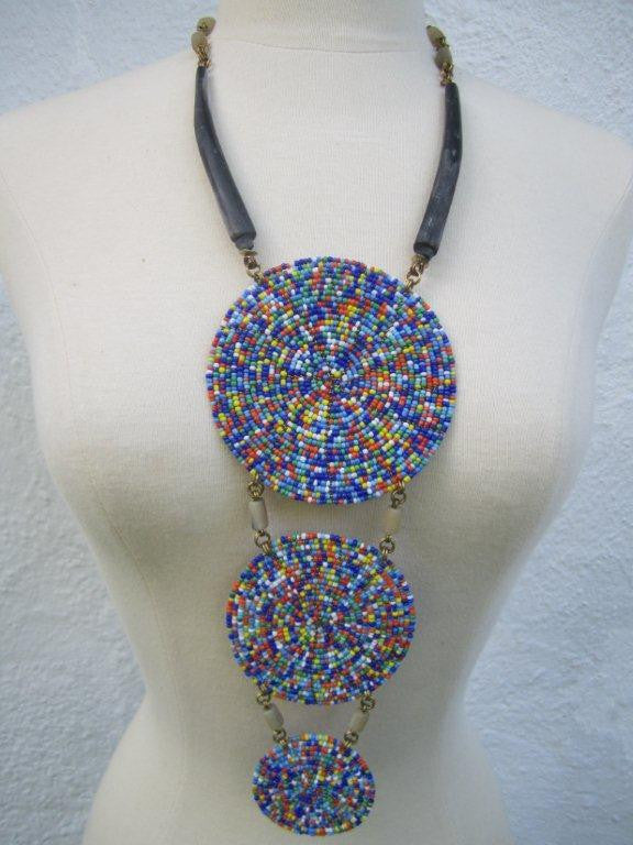 Triple Disc Necklace with Horn Charanga Blue