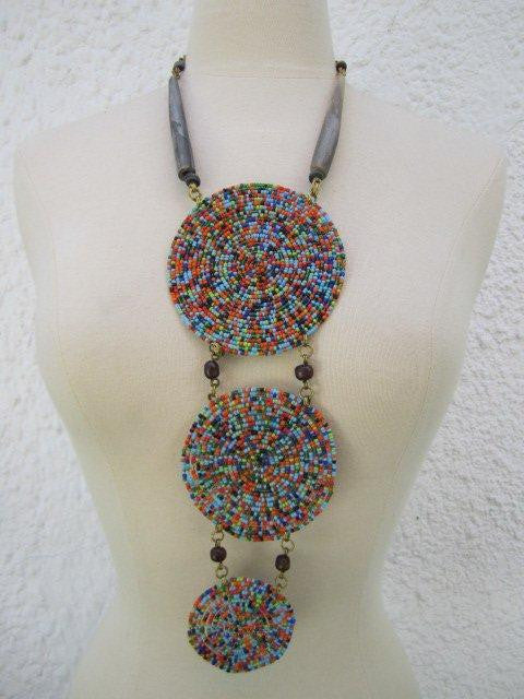 Triple Disc Necklace with Horn Charanga Sky Blue