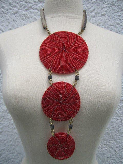 Triple Disc Necklace with Horn Glass Red