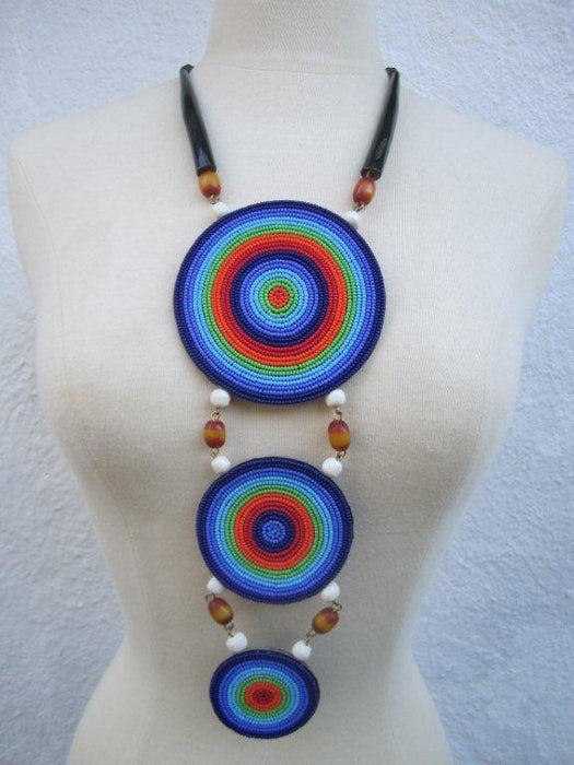Triple Disc Necklace with Leather  backing and Horn