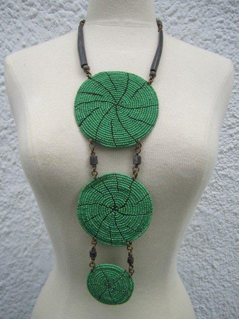 Triple Disc Necklace with horn Green