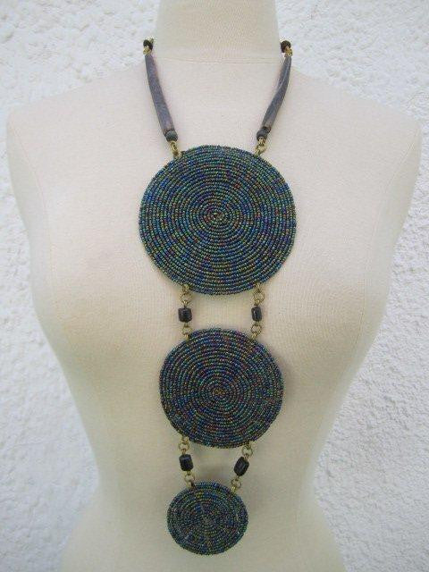 Triple Disc Necklace with horn Metallic Purple