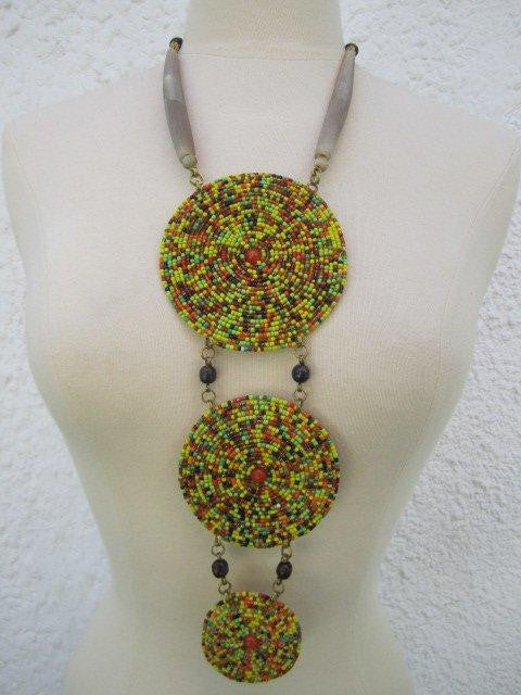 Triple Disc Necklace with horn Rasta