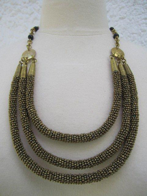 Triple Layer Necklace Metallic Gold