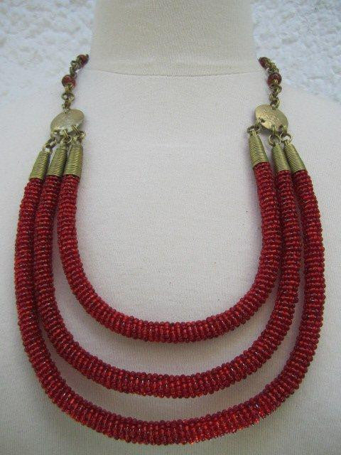 Triple Layer Necklace Metallic Red
