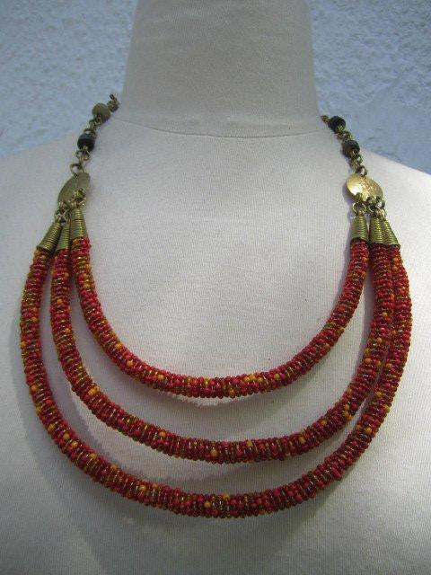 Triple Layer Necklace Charanga Red