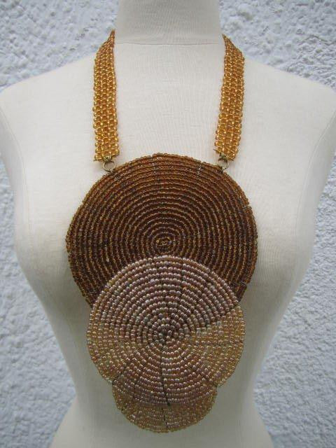 Triple bound clustered large beads Necklace 4
