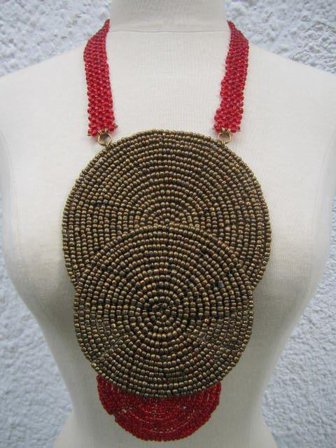 Triple bound clustered large beads Necklace 5