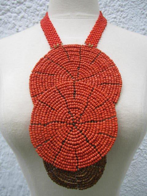 Triple bound clustered large beads Necklace 7