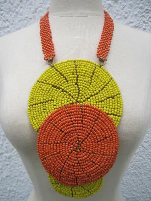 Triple bound clustered large beads Necklace 9