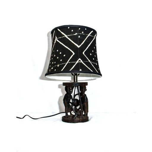 Ujamaa Lamp with Drum Mudcloth Lampshade 03