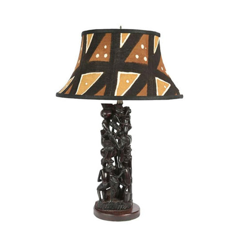 Ujamaa Lamp with Round Mudcloth Shade 01
