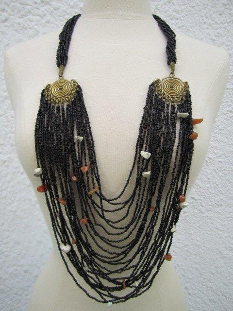 Umbrella Beaded Brass and Stones Necklace