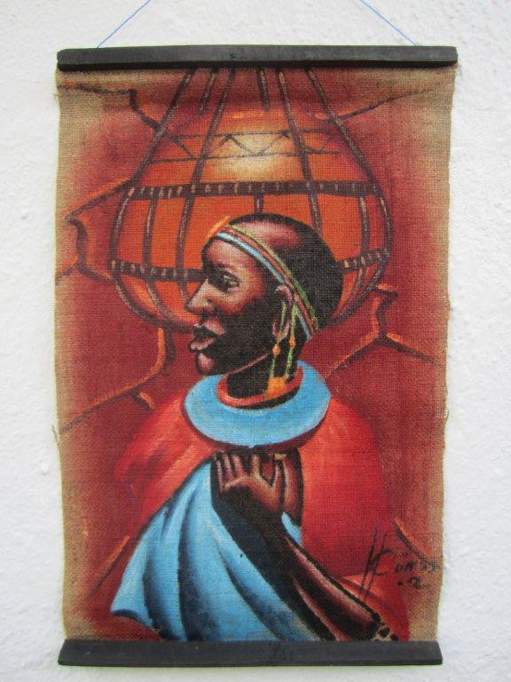 Masai Woman Burlap Wall Art 1