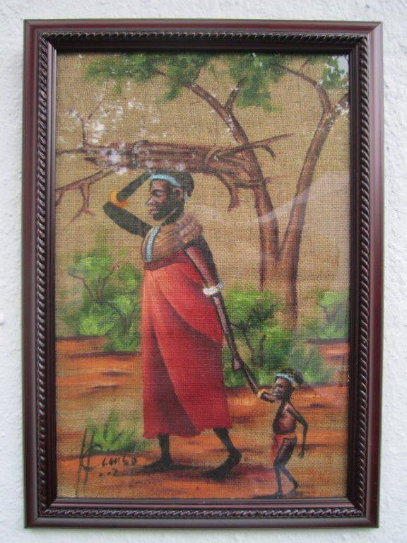 Maasai Woman with Baby Burlap Framed