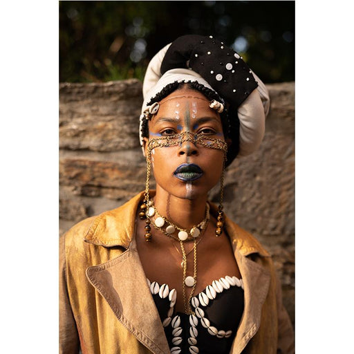 Xhosa Duku Beaded Headdress - Black & White