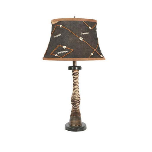 Zebra Lamp with Kuba Cloth Shade