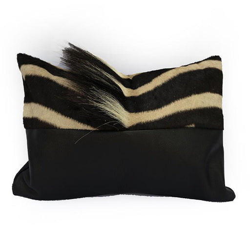 Zebra Hide Leather Bolster Pillow