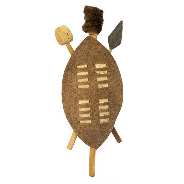 Zulu Shield with Spear and Club - Small