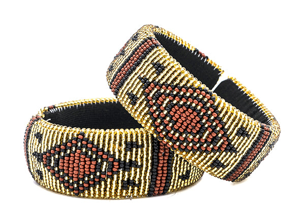 Zulu Beaded Cuff Bangle Brown - Set of 2