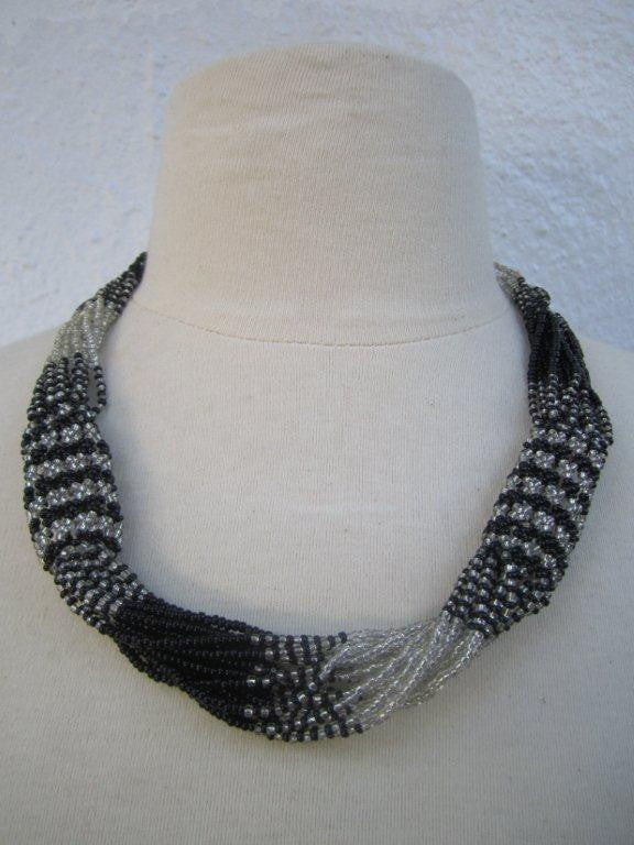 Zulu Strand Short Necklace Black and Silver 22 inches