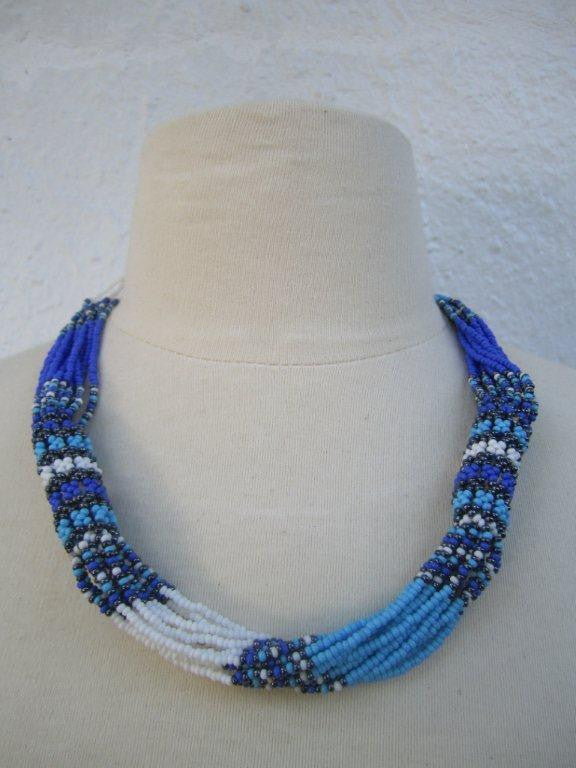Zulu Strand Short  Necklace Blue White  and Grey 22 inches