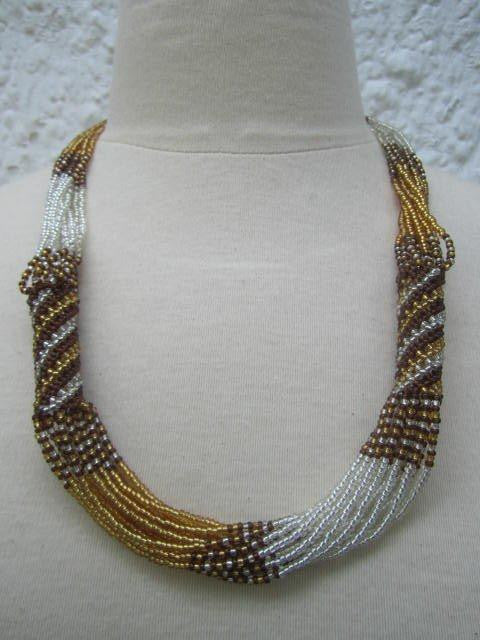 Zulu Strand Short Necklace Gold Silver and Cooper 22 inches