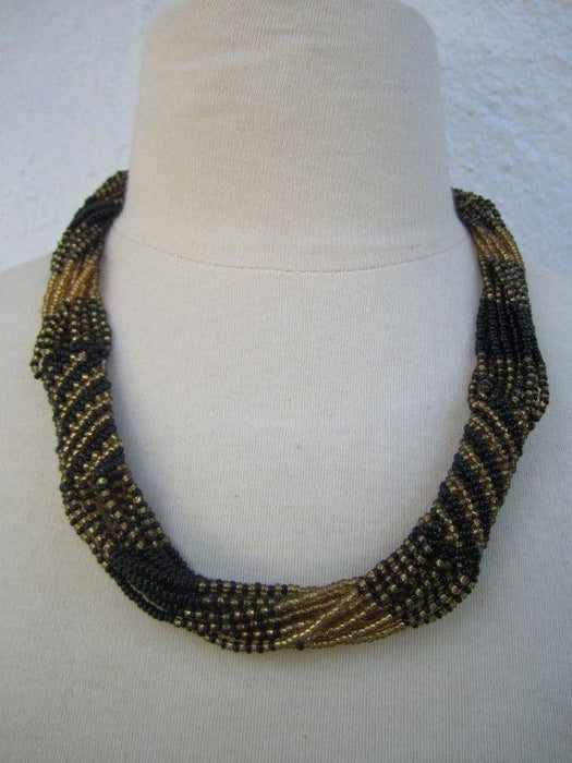 Zulu Strand Short  Necklace Gold and Black 22 inches
