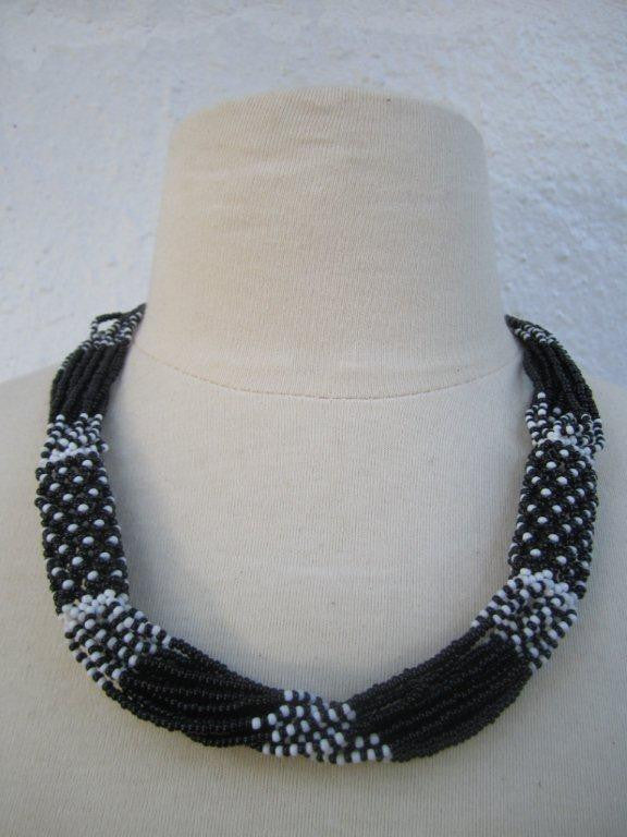 Zulu Strand Short  Necklace More Black and White 22 inches