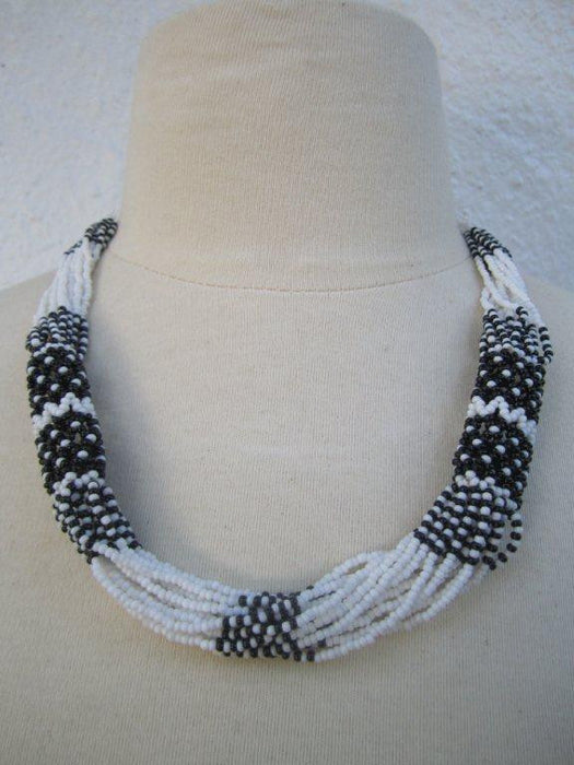 Zulu Strand Short  Necklace More White and Black 22 inches