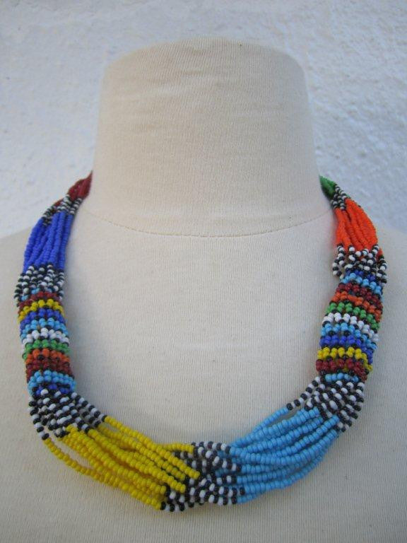 Zulu Strand Short  Necklace Multi Color 22 inches