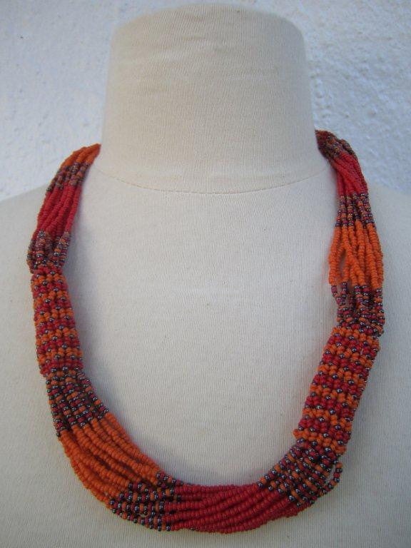 Zulu Strand Short  Necklace Orange Grey and Red 22 inches