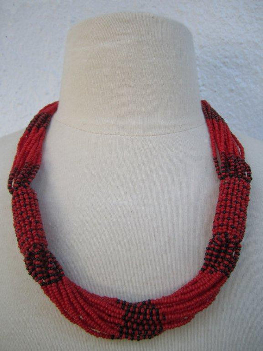 Zulu Strand Short Necklace Red and Black 22 inches