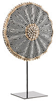 Beaded Cameroon Umbrella Shield on stand - Black & White 01