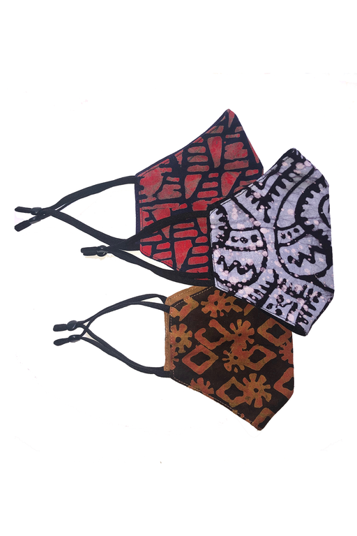 Uhuru Adult Batik Unisex Face Masks - Set of 3