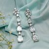 Arya Silver Danglers with Emerald Cut cascade of Finest Swarovski Zirconia