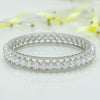 Heart Trellis Silver Adjustable Bangle with Round Swarovski Zirconia