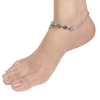 Misha Multicolored Silver Anklets