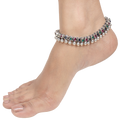 Mihika Multicolored Sterling Silver Anklets