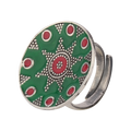 Vintage Green-red Enameled Silver Ring