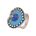 Stunning Blue Enameled Silver Ring