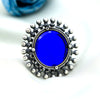 Blooming Blue Mirror Silver Ring
