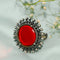 Amaya Red Mirror Silver Ring