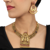 Aveesha Pink-Green Gold Plated Deity Motif Silver Necklace