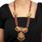 Saina Pink-Green Gold Plated Deity Motif Silver Necklace