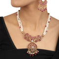 Ahaana Pink Gold Plated Silver Necklace With Pearls