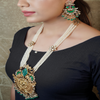 Shyna Long Gold Plated Kundan Necklace Set
