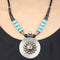 Zoya Blue Beaded Dual Tone Silver Necklace