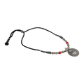 Celina Green-Red Thread Tribal Silver Necklace